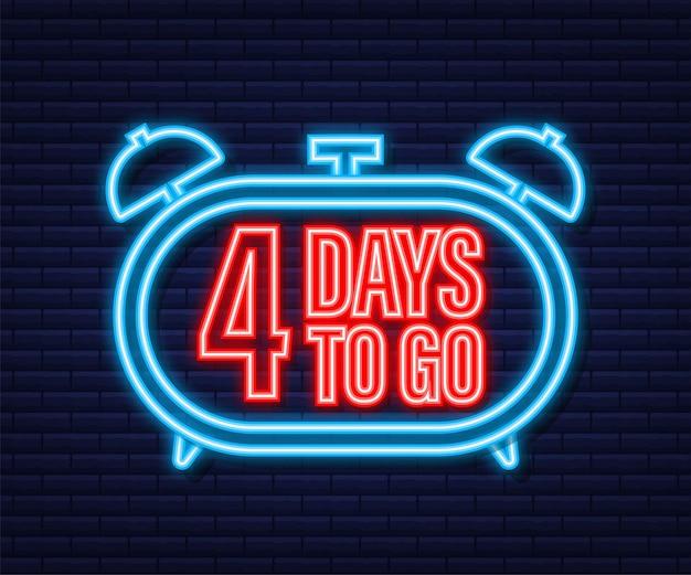 4 jours pour aller. icône de style néon. conception typographique de vecteur. illustration vectorielle de stock.