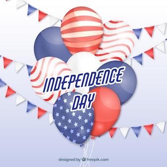 4 juillet ballons bouquet avec des couleurs américaines
