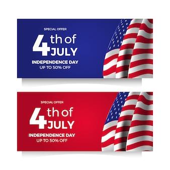 4 juillet bannière américaine offre de vente flyer fête de l'indépendance avec drapeau et étoile