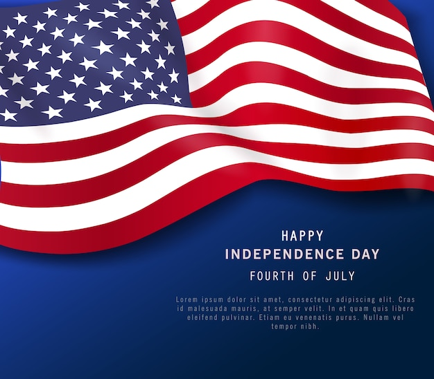 4 juillet bannière de vacances. affiche de la fête de l'indépendance américaine ou flyer, fond bleu marine