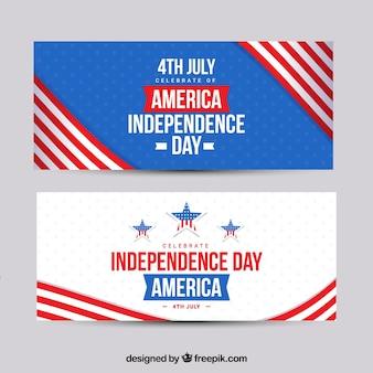 4 juillet des bannières avec des drapeaux américains