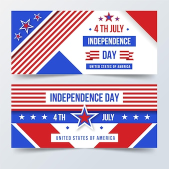 4 juillet - bannières de la fête de l'indépendance au design plat