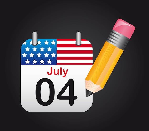 4 juillet calendrier avec crayon sur fond noir vecteur