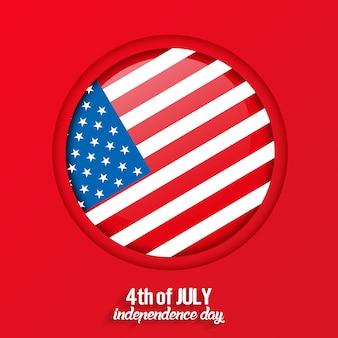 4 juillet, carte de voeux de la fête de l'indépendance des états-unis avec fond rouge, vecteur