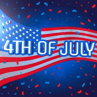 4 juillet célébration fond avec des confettis