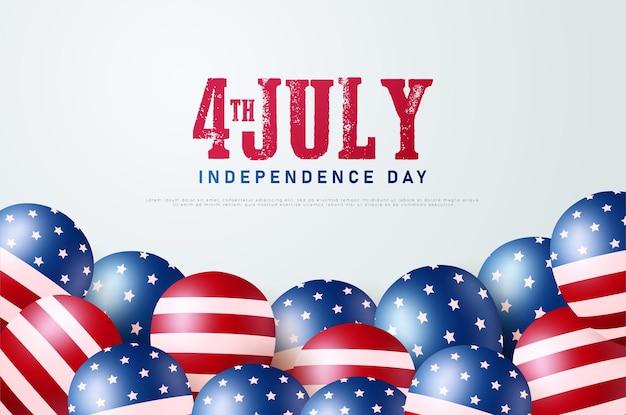 4 juillet avec des chiffres et des ballons avec le drapeau américain