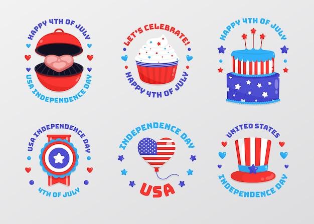 4 juillet - collection de badgde de la fête de l'indépendance