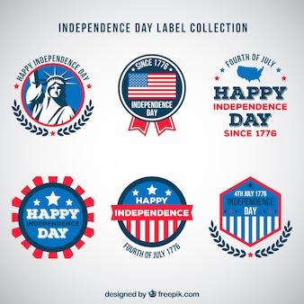 4 juillet collection d'étiquettes de la fête de l'indépendance