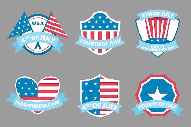 4 juillet - collection d'étiquettes de la fête de l'indépendance