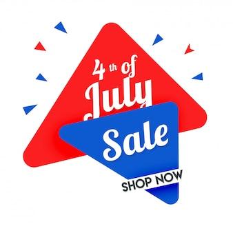 4 juillet, conception de bannière de vente.