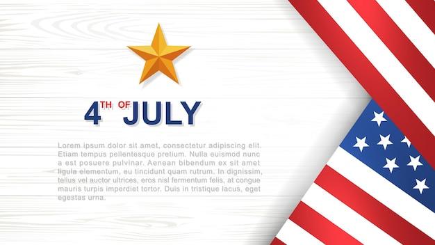 4 juillet - contexte de la fête de l'indépendance des états-unis (états-unis d'amérique) avec motif et texture en bois blanc et drapeau américain. illustration vectorielle.