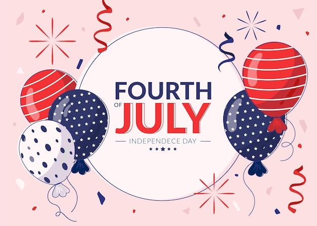 4 juillet dessiné à la main - fond de ballons de la fête de l'indépendance