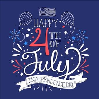 4 juillet dessiné à la main - lettrage de la fête de l'indépendance