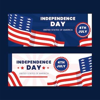4 juillet détaillé - ensemble de bannières de la fête de l'indépendance