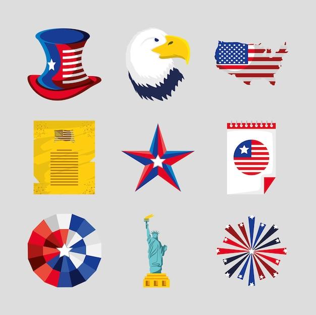 4 juillet drapeau américain aigle feux d'artifice