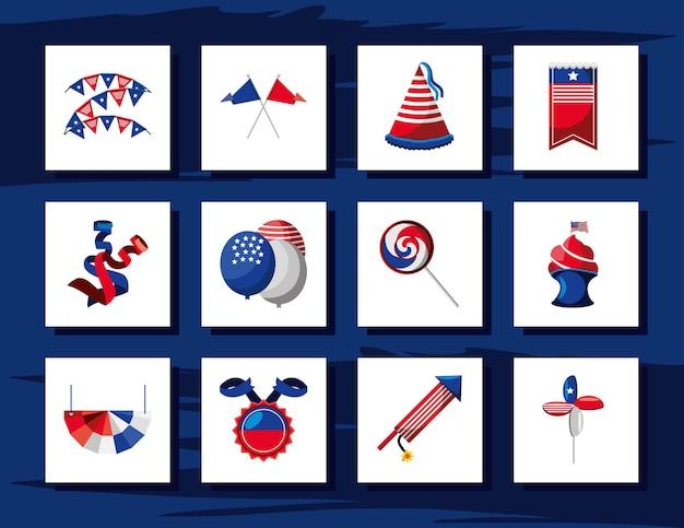 4 juillet drapeau américain ballons feux d'artifice