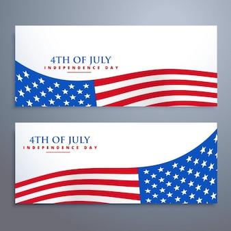 4 juillet drapeau bannières