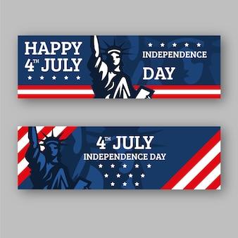4 juillet - ensemble de bannières de la fête de l'indépendance