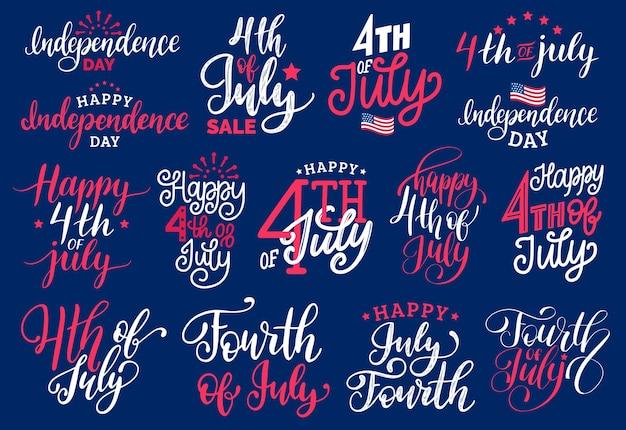 4 juillet, ensemble de phrases manuscrites. inscriptions vectorielles pour carte de voeux, bannière, etc.