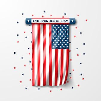 Le 4 juillet est le jour de l'indépendance. drapeau des etats unis