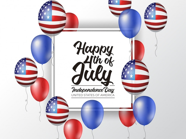 4 juillet fête de l'indépendance amérique avec ballon réaliste