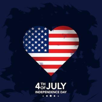 4 juillet fête de l'indépendance avec coeur