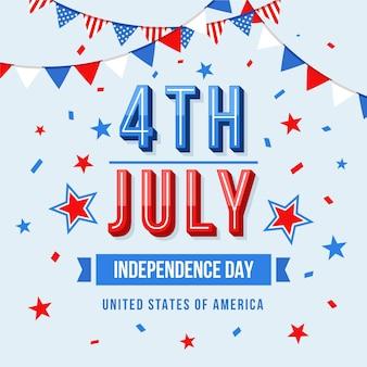 4 juillet - fête de l'indépendance en design plat
