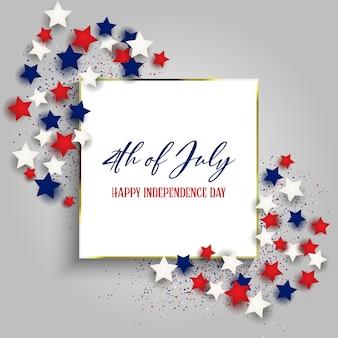 4 juillet, fête de l'indépendance des états-unis avec cadre en or et étoiles
