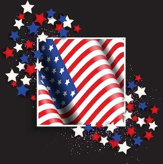 4 juillet, fête de l'indépendance des états-unis avec drapeau américain et étoiles