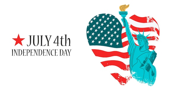 4 juillet, fête de l'indépendance. statue de la liberté avec une torche à la main