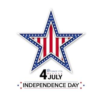 4 juillet fête de l'indépendance des usa. étoile américaine avec drapeau national. célébrations du jour de l'indépendance aux états-unis d'amérique.