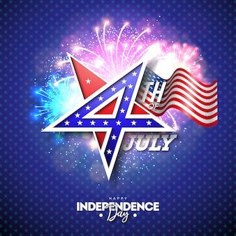 4 juillet, fête de l'indépendance des usa illustration vectorielle
