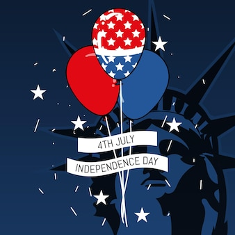4 juillet - fond de ballons de fête de l'indépendance