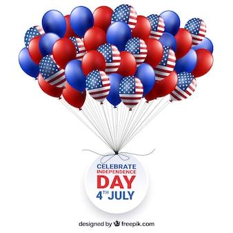 4 Juillet Fond Avec Un Bouquet De Ballons Vecteur gratuit