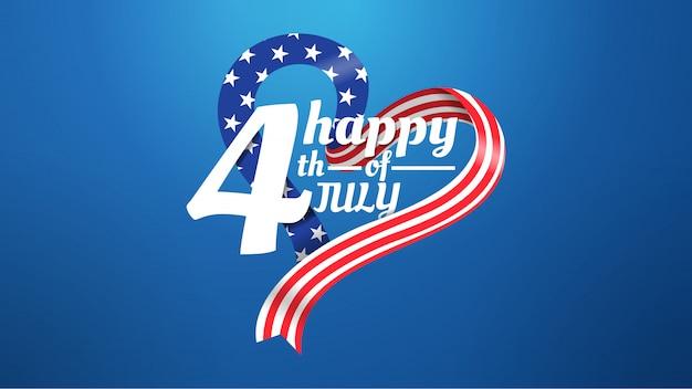 4 juillet, forme amour, drapeau américain, concept, sur, arrière-plan bleu