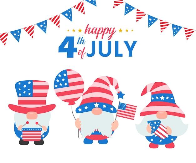 4 juillet. les gnomes portaient un costume de drapeau américain pour célébrer le jour de l'indépendance.