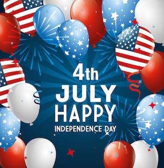 4 juillet heureux jour de l'indépendance avec des ballons hélium
