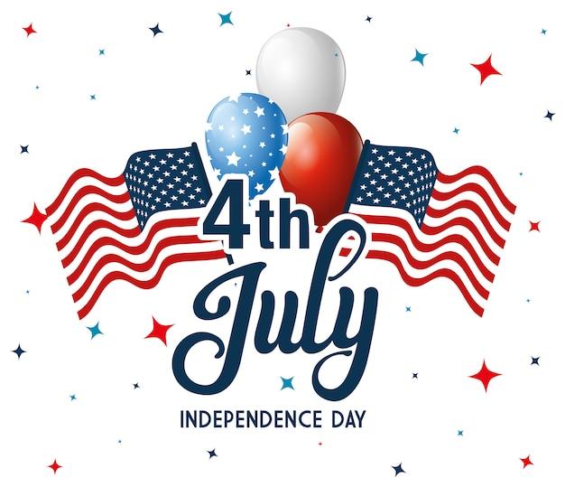 4 juillet heureux jour de l'indépendance avec drapeau et ballons hélium