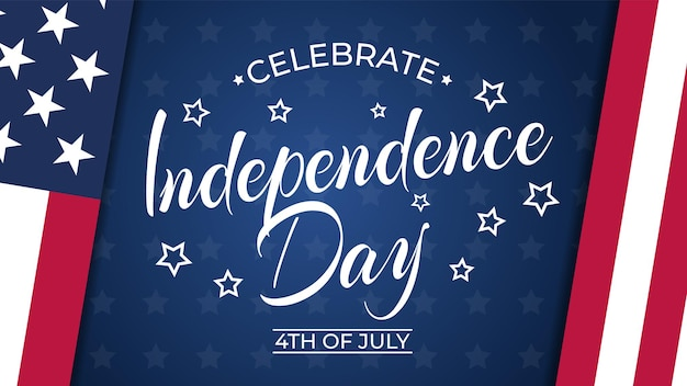 4 juillet, illustration de la bannière happy independence day