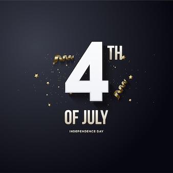 4 juillet indépendance des états-unis avec des chiffres blancs fantaisie