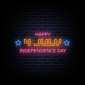4 juillet independence day neon signs style texte