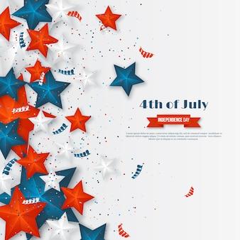 4 juillet - jour de l'indépendance de l'amérique. fond de vacances américain. étoiles 3d aux couleurs nationales avec serpentine et confettis
