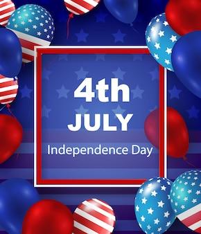 4 juillet, jour indépendance, carte voeux., vecteur, illustration