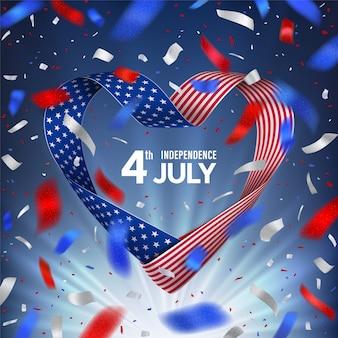 4 juillet journée des états-unis d'amérique avec ruban de drapeau en forme de coeur