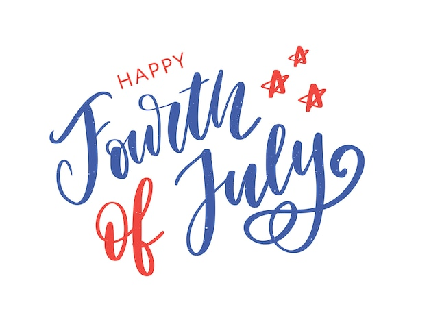 4 juillet. joyeuse calligraphie de la fête de l'indépendance