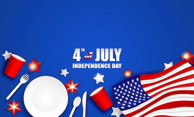 4 juillet, joyeux jour de l'indépendance, usa. concevoir avec une cuillère, un plat, une fourchette, un couteau, une vaisselle en verre de papier et l'étoile du drapeau américain