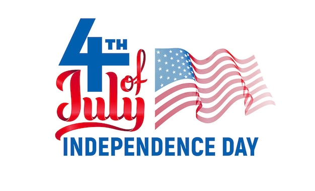 4 juillet. lettrage de la fête de l'indépendance des états-unis