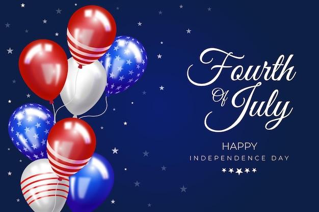 4 juillet réaliste - fond de ballons de fête de l'indépendance