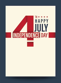 4 juillet, ruban rouge avec la vedette américaine