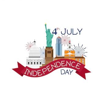 4 juillet vecteur de la fête de l'indépendance.